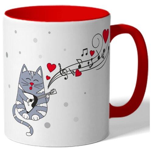 Кружка DRABS керамическая цветная, Влюбленный кот