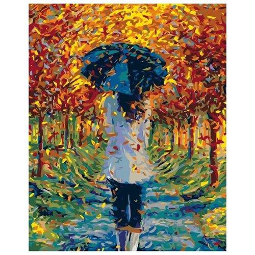 Купить Картина по номерам Живопись по Номерам Осень под зонтом , 40x50 см, Живопись по номерам, Картины по номерам и контурам