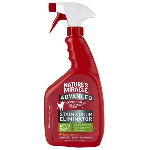 Спрей 8 In 1 Nature's Miracle Advanced Dog Stain & Odor Eliminator Уничтожитель запаха и пятен с усиленной формулой с ароматом лимона для собак 946 мл фото