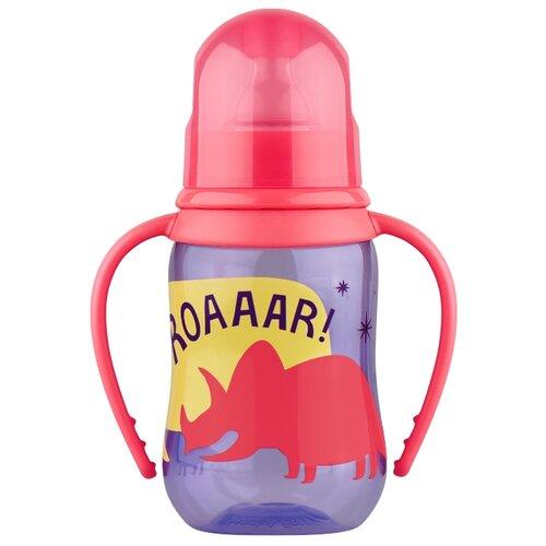 lubby бутылочка с соской малышарики 125 мл с рождения желтый Lubby Бутылочка с ручками, из полипропилена с силиконовой соской, 125 мл (12013) с рождения, фиолетовый/красный