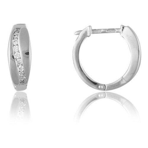 TOP CRYSTAL Серьги-кольца с фианитами, серебряные 40455361