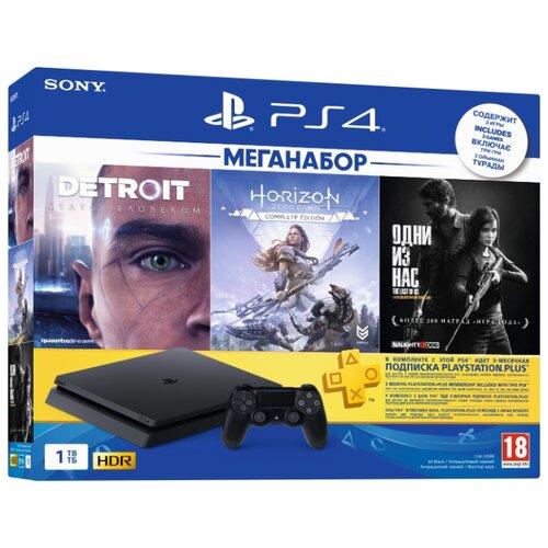 Игровая приставка Sony PlayStation 4 Slim 1 ТБ черный + Horizon Zero Dawn CE, Detroit: Стать человеком, Одни из нас + PS Plus 3 месяца