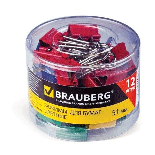 Купить BRAUBERG Зажимы для бумаги 221131 51 мм (12 шт.) красный/синий/желтый/зеленый, Скрепки, кнопки