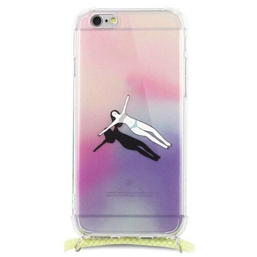 Силиконовый чехол на шнурке для Аpple iPhone 6 и 6S / Прозрачный чехол с рисунком на шею на Эпл Айфон 6 и 6С (Релакс)