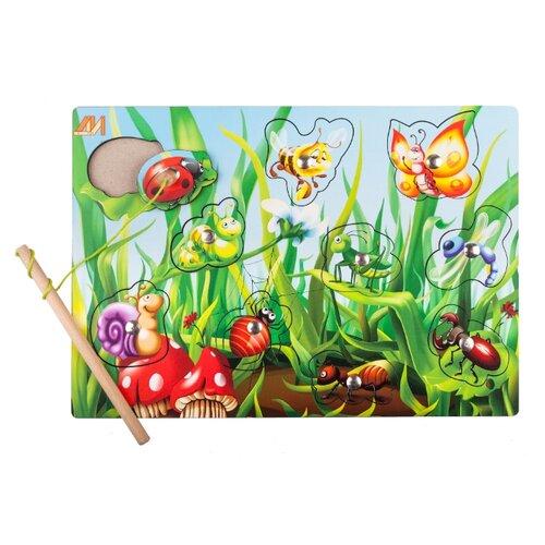 деревянные игрушки Рыбалка Деревянные игрушки Полянка новая разноцветный