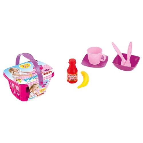 Набор продуктов с посудой Dolu Пикник розовый/фиолетовый