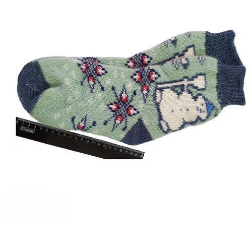 Носки шерстяные Бабушкины носки N6R81-1 голубой,серо-голубой_38-40