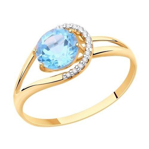 Diamant Кольцо из золота с топазом и фианитами 51-310-00220-1, размер 18 diamant кольцо из золота с топазом и фианитами 51 310 00292 1 размер 18