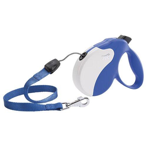 Поводок-рулетка для собак Ferplast Amigo cord S синий/белый 5 м поводок рулетка для собак ferplast amigo tape s серый 5 м
