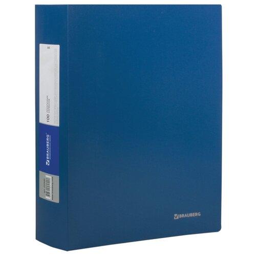 Купить BRAUBERG Папка Office на 100 вкладышей, А4 Синяя, Файлы и папки