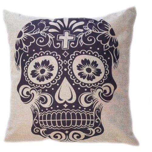 Чехол для подушки Pastel Череп черный 45х45 см (1315508) бежевый чехол для подушки violet листья жаккард 45х45 см p02 5003 1