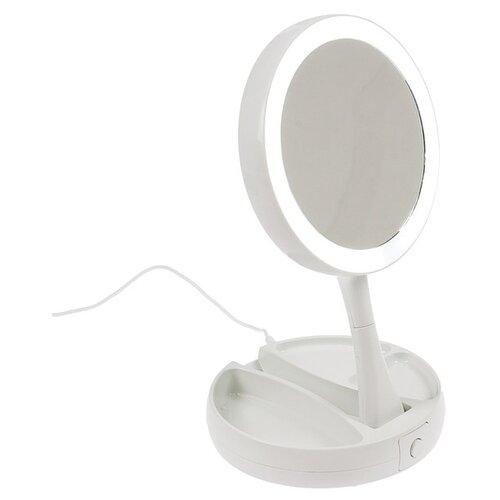 Купить Зеркало косметическое настольное LuazON KZ-09 с подсветкой белый