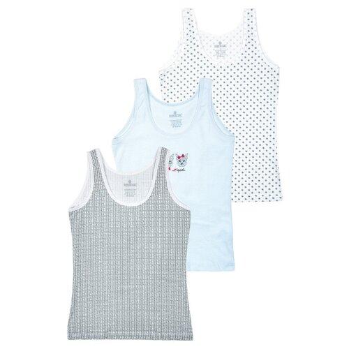 Купить Майка BAYKAR 3 шт., размер 7, белый/серый/голубой, Белье и купальники