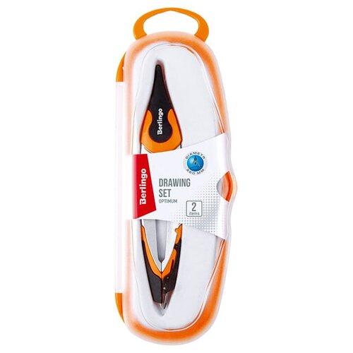 Купить Berlingo Готовальня Optimum 2 предмета (DS_00102) оранжевый, Чертежные инструменты