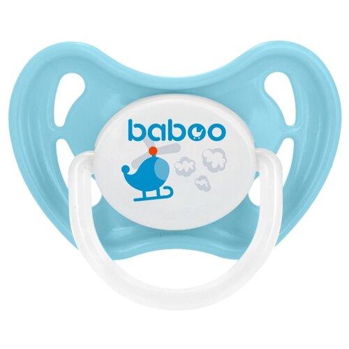 Купить Пустышка силиконовая ортодонтическая baboo Transport 6+ м (1 шт.) голубой/белый, Пустышки и аксессуары