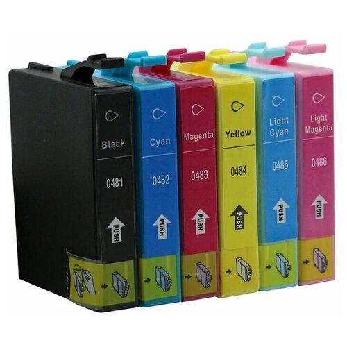 Комплект картриджей ProfiLine T0487 (T0481, T0482, T0483, T0484, T0485, T0486), черный, голубой, пурпурный, желтый, светло-голубой, светло-пурпурный, для струйного принтера, совместимый