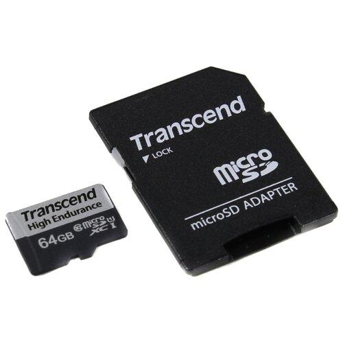 Фото - Карта памяти MicroSD 64GB Transcend 350V UHS-I U1 + SD адаптер (высокой надёжности) карта памяти transcend 8gb uhs i u1 microsd with adapter mlc