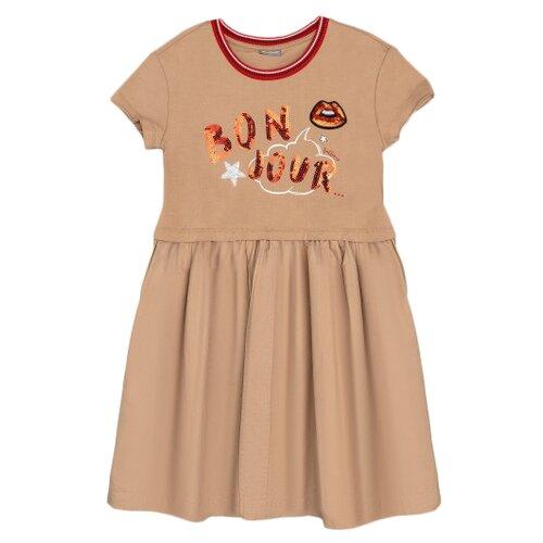Платье Gulliver размер 146, бежевый/принт