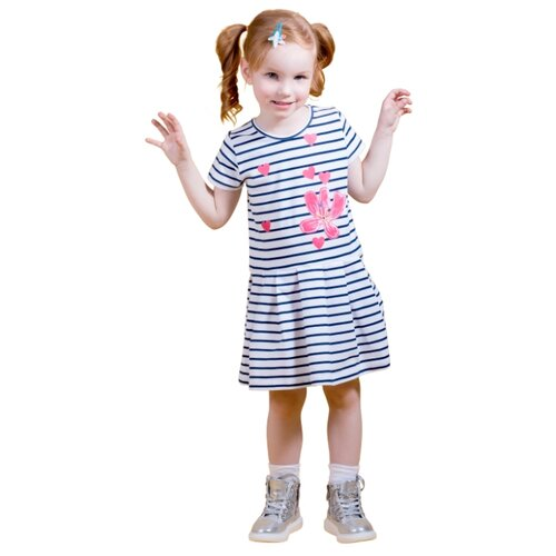 Платье M-Bimbo размер 128, белый/темно-синий m bimbo костюм зимний 350 220гр сирень