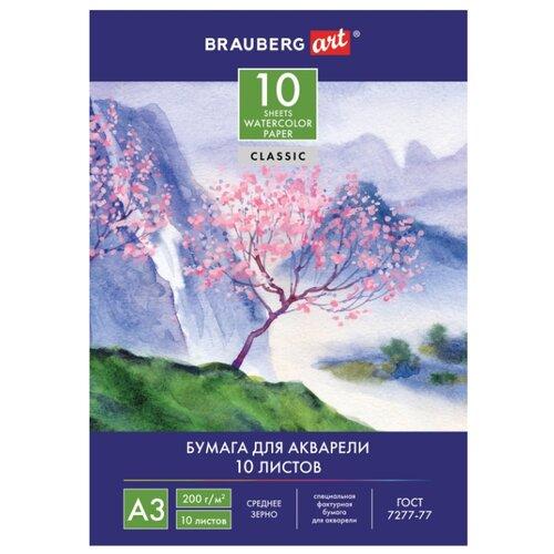 Купить Папка для акварели BRAUBERG 42 х 29.7 см (A3), 200 г/м², 10 л., Альбомы для рисования