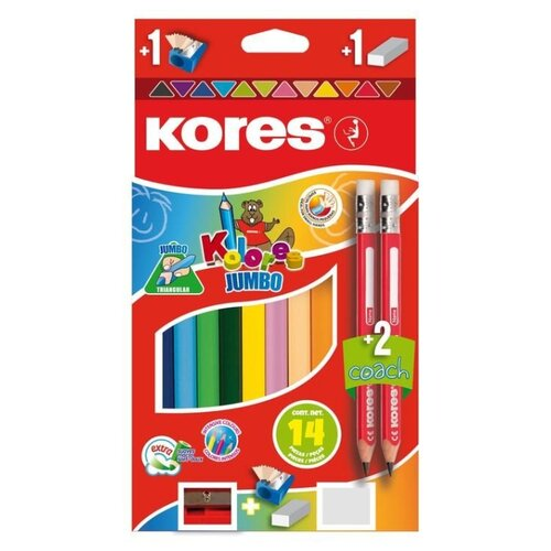 Фото - Kores Карандаши цветные Jumbo, 12 цветов с точилкой и ластиком (1013665) карандаши восковые мелки пастель kores карандаши цветные шестигранные с точилкой 12 цветов