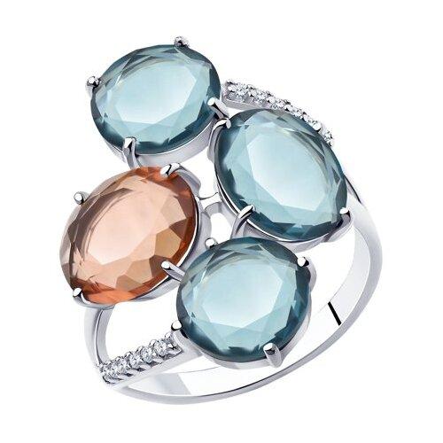 Diamant Кольцо из серебра со стеклянными вставками и фианитами 94-110-00616-1, размер 17.5 по цене 1 895