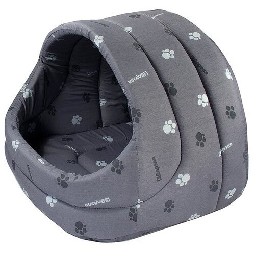 Домик для собак и кошек Дарэлл Лукошко 54х48х44 см серый