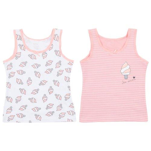 Купить Майка Leader Kids 2 шт., размер 122-128, белый/розовый, Белье и купальники