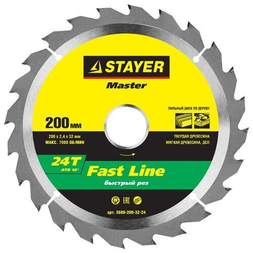 Пильный диск STAYER Fast Line 3680-200-32-24 200х32 мм круг пильный твердосплавный stayer master 3680 250 30 24 fast line по дереву 250х30мм 24t