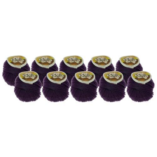 Купить Пряжа Adelia Claire, 50 % шерсть, 50 % акрил, 50 г, 138 м, 10 шт., №258 серо-фиолетовый