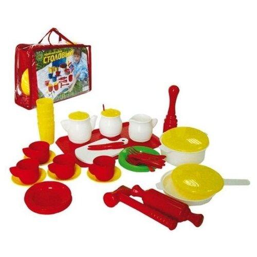 Купить Набор посуды СТРОМ Столовый У526 красный/белый/желтый, Игрушечная еда и посуда