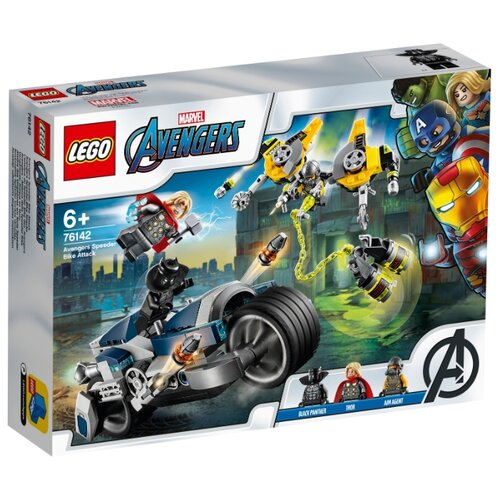 Конструктор LEGO Marvel Super Heroes 76142 Мстители: Атака на спортбайке lego конструктор lego super heroes 76130 реактивный самолёта старка и атака дрона