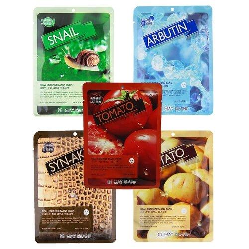 Купить MAY ISLAND Набор увлажняющих тканевых масок Real Essence: Arbutin, Syn-ake, Potato, Tomat, Snail, 25 мл, 5 шт.