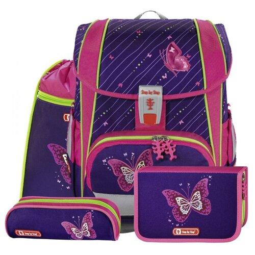 Step By Step Ранец Light2 Shiny Butterfly 4 предмета (138961), фиолетовый/розовый недорого