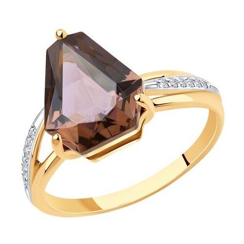 Diamant Кольцо из золота с ситалом синтетическим и фианитами 51-310-00810-1, размер 18 diamant кольцо из золота с топазом и фианитами 51 310 00292 1 размер 18