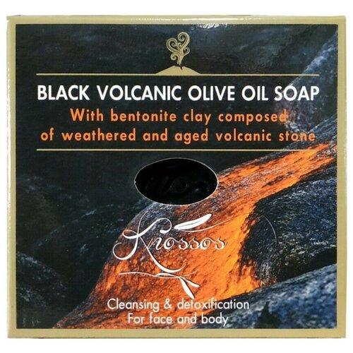 Мыло натуральное кусковое Knossos оливковое черное с бентонитовой глиной, 120 г мыло кусковое knossos с активированным углем 100 г