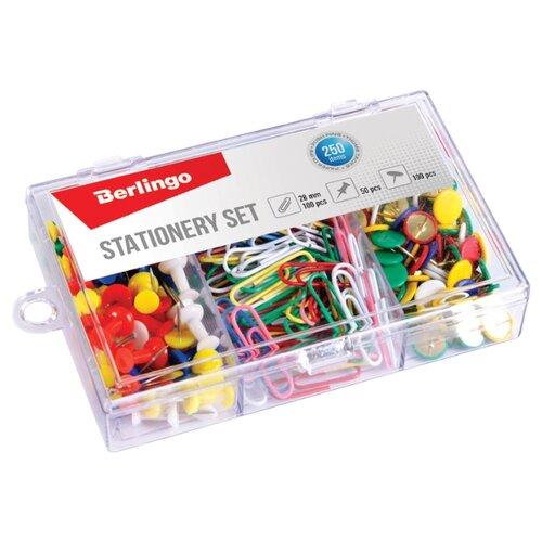 Berlingo Набор канцелярских принадлежностей (скрепки, кнопки) 250 шт. разноцветные недорого
