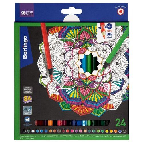 Купить Berlingo Карандаши цветные SuperSoft Blackwood 24 цвета (SS01824), Цветные карандаши