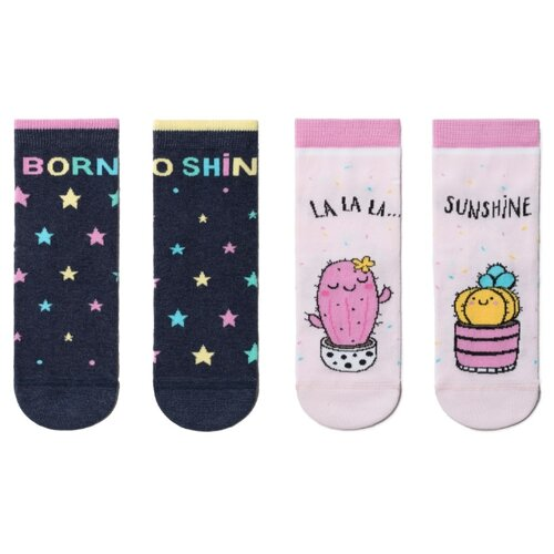 Носки Conte-kids комплект 2 пары размер 22, светло-розовый/темно-синий кеды для мальчика flois kids цвет темно синий fl ra17205 pbt 6 размер 27