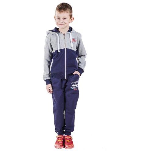 Спортивный костюм Belka размер 140, серый меланж/темно-синий брюки luminoso размер 140 синий меланж