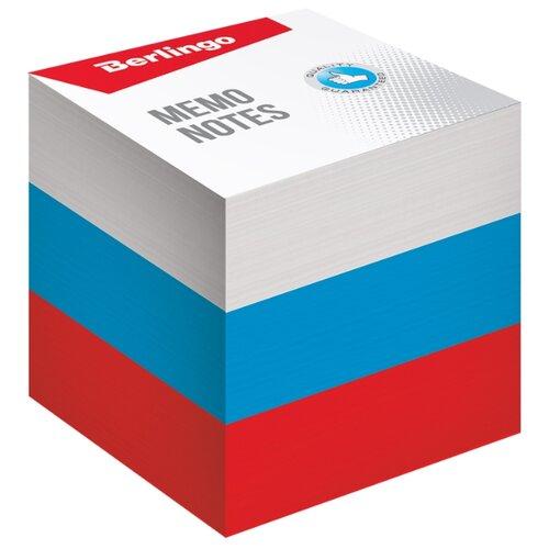 Berlingo блок для записи Триколор, 9 х 9 х 9 см (LNn_01239) белый/красный/синий шкатулка купюрница sima land собачка осень цвет голубой 17 см х 9 см х 6 см