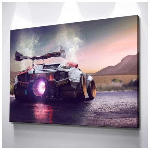 Картина Lamborghini Countach 50х70 см. натуральный холст