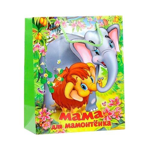 Пакет подарочный Играем вместе Мама для Мамонтенка 17 х 13 х 7 см зеленый органайзер для мелочей двухсторонний цвет зеленый 11 см х 7 5 см х 3 см