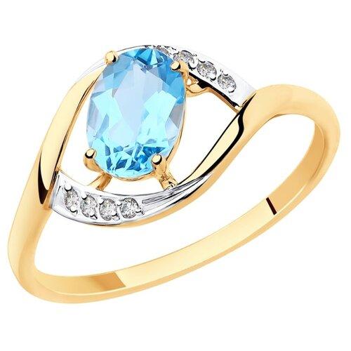 Diamant Кольцо из золота с топазом и фианитами 51-310-00223-1, размер 18 diamant кольцо из золота с топазом и фианитами 51 310 00292 1 размер 18
