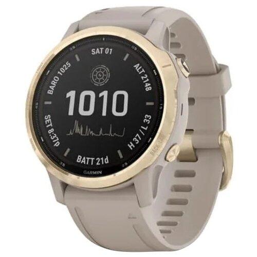 Умные часы Garmin Fenix 6S Pro Solar, золотистый/песочный умные часы garmin fenix 6x pro solar титановый с титановым браслетом серый