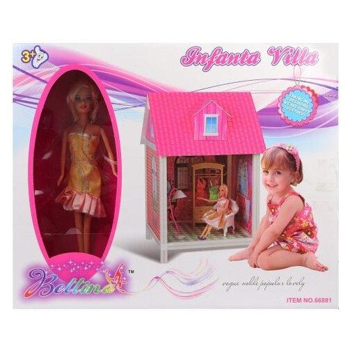 Наша игрушка Домик для куклы 66881, розовый/белый игрушка