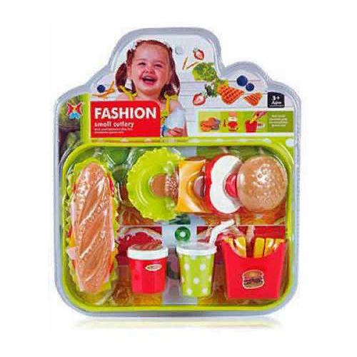 Купить Набор продуктов Junfa toys Фаст Фуд XJ326H-28 зеленый, Игрушечная еда и посуда