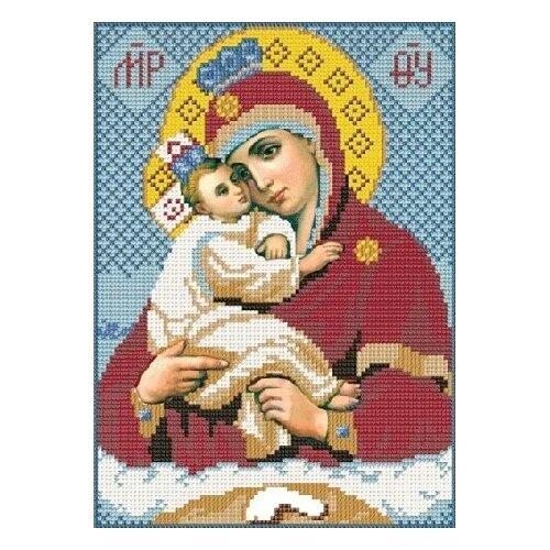 Купить Канва для вышивания с рисунком NOVA SLOBODA Богородица Почаевская БИС-9026, голубой/красный/желтый 19 х 25 см