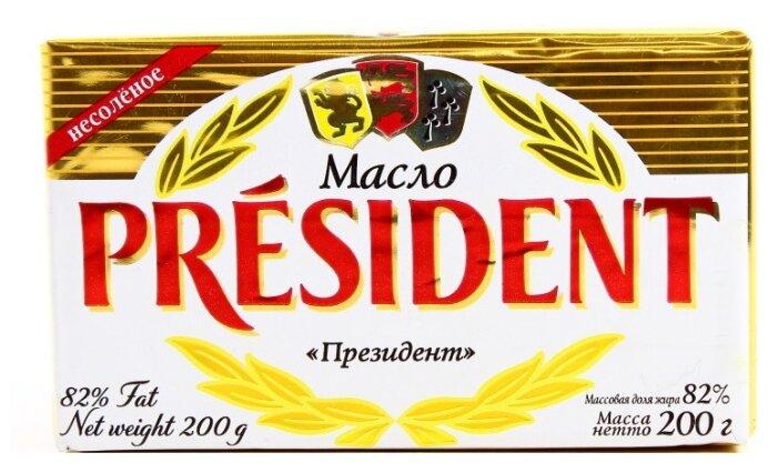 President Масло кисло-сливочное несоленое 82%, 200 г
