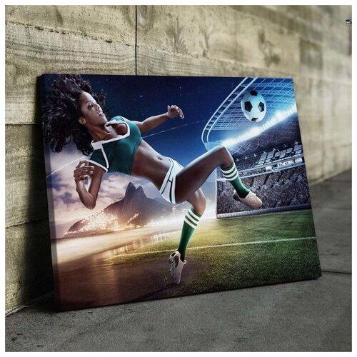 Картина Футболистка 60х80 см. синтетический холст